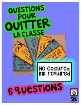 Washroom questions: Questions pour quitter la classe! Est-ce que je peux...