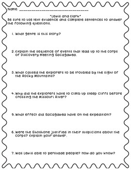 """Questions to Accompany Fifth Grade Trophies """"Lewis and Clark"""""""