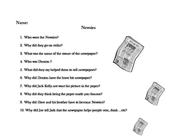 Questions to Answer While Watching the Movie Newsies!
