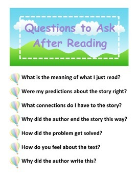Questions to Ask After Reading (Hot Air Balloons)