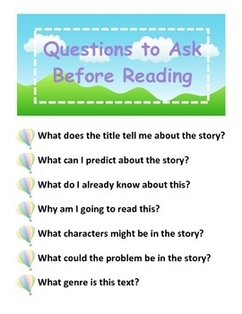 Questions to Ask Before Reading (Hot Air Balloons)