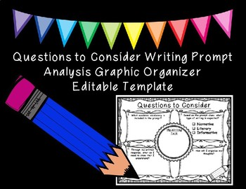 Questions to Consider Writing Prompt Analysis Organizer Editable Template