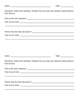 Questions to Use with Any Book - 1/2 sheets back to back