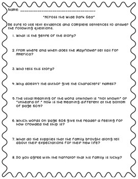 """Questions to accompany Fifth Grade Trophies """"Across the Wi"""