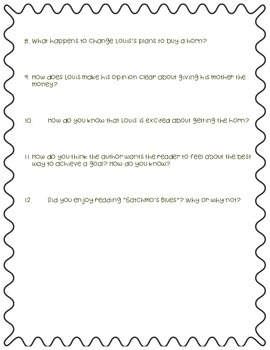 """Questions to accompany Fifth Grade Trophies """"Satchmo's Blues"""""""