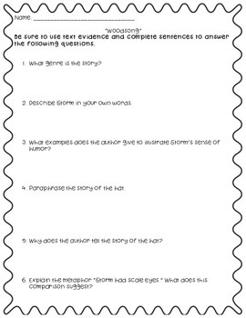"""Questions to accompany Fifth Grade Trophies """"Woodsong"""""""