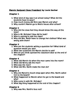 Questions to accompany Marvin Redpost Class President by Sachar