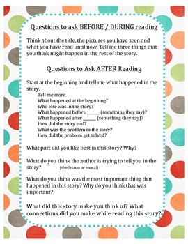 Questions to ask Before, During and After Reading - SPANISH and ENGLISH