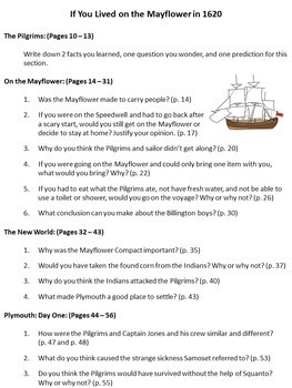 If You Lived on the Mayflower Questions