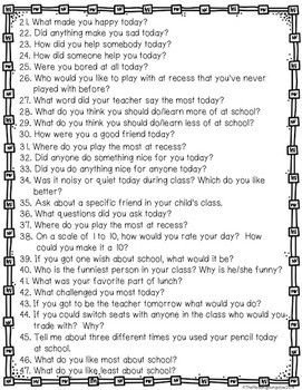 Questions to help parents talk about their child's school day