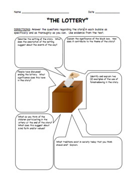 """Questions with Answer Key for """"The Lottery"""" by Shirley Jackson"""