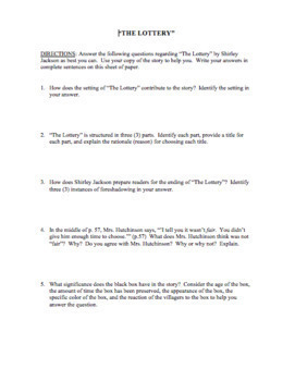 "Questions & Answer Key for ""The Lottery"" by S. Jackson - NOW WITH BELL RINGERS"
