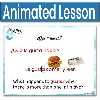 Gustar in Questions Lesson (Spanish)- Animated, interactive PowerPoint