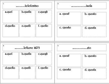 Questo Quello Demonstrative Adjective Task Cards