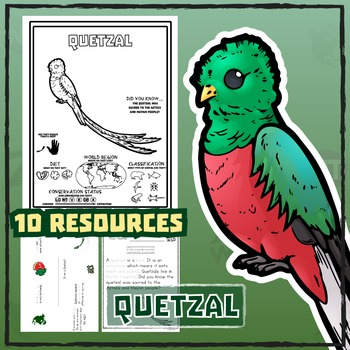 Quetzal -- 10 Resources -- Coloring Pages, Reading & Activities