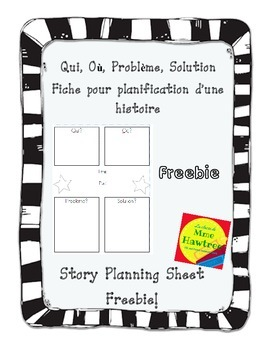 Qui, Où, Problème, Solution Fiche planification - French Story Planning Sheet