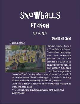 Qui and Que Relative Pronouns Snowballs FRENCH