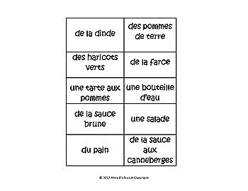 Qui est-ce? A French speaking game to practice Thanksgiving foods