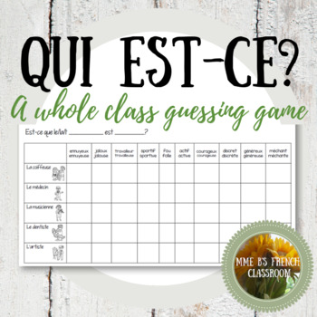Qui est-ce? A guessing game to practice adjectives (D'accord 1 3B)