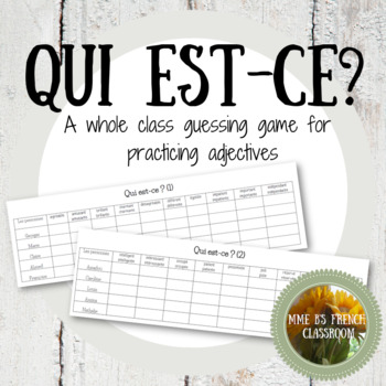 D'accord 1 Unité 1 (1B): Qui est-ce? A whole class guessing game