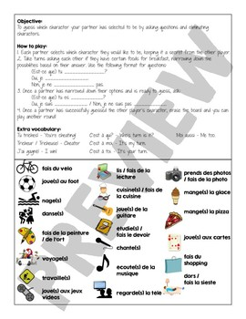 Qui est-ce? / Guess Who Speaking Game to Review French Hobby / Activity Vocab