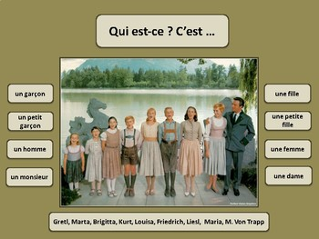 Qui est-ce dialogue in French, identifying people, French 1