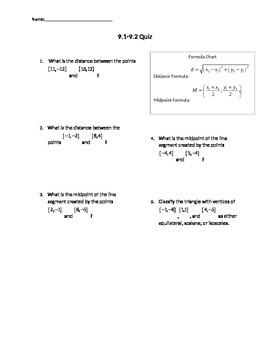 Qui on distance formula, midpoint formula, and parabolas w
