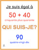 Qui suis-je? French numbers and math game 51 - 100