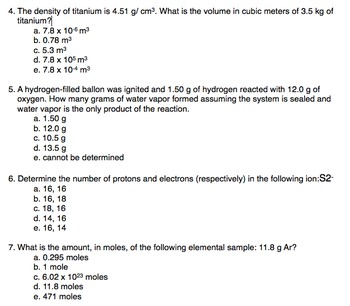 Quick 10 Question Quiz to Assess AP Chemistry Students General Knowledge