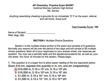 Quick 10 Question Quiz to Assess AP Chemistry Students Gen