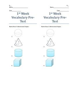 Quick 3D Shapes Vocabulary Pretest
