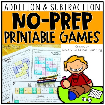 photograph regarding Addition and Subtraction Games Printable titled Addition Subtraction NO PREP Game titles Easy Information and facts 2-3 Digit