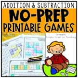 Addition & Subtraction NO PREP Games for Basic Facts & 2-3 Digit