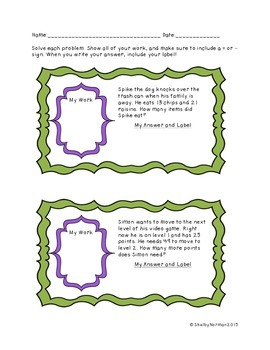 Quick Addition and Subtraction Word Problems- no regrouping