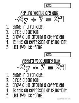 Algebra Vocabulary Quizzes