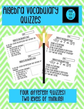 Algebra Vocabulary Quizzes