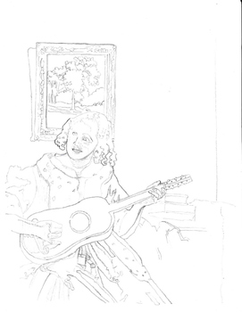 Quick Art lesson in Charcoal : Jan Vermeer outline of The Guitar Player