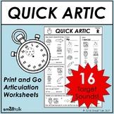 Quick Artic Worksheets for Articulation