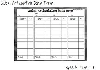 Quick Articulation Data Form