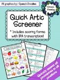 Quick Articulation Screener - Informal Articulation Assessment - Screening