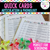 Quick Articulation and Phonology Card Pack for Speech Therapy