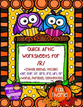 Quick Articulaton R & Vocalic R Words Sentences Phrases NO PREP