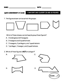 Quick Assessment 3.6A - Classify and Sort 2D&3D Figures