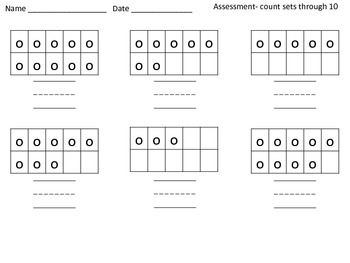 Quick Assessment Check In- count sets & print the number 1-20