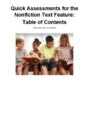 Quick Assessments for the Nonfiction Text Feature: Table o