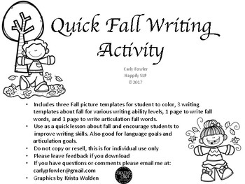 Quick Autumn Writing Activity