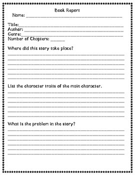 Quick Book Report Form - Any Novel!