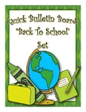 Back To School Green Classroom Decor Bulletin Board Set