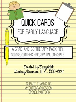 Quick Cards for Early Language