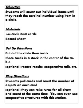 Quick Centers and Staions Kindergarten Math Common Core k.cc.b.5